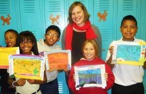 Picture of Carrie Neumayer and her students